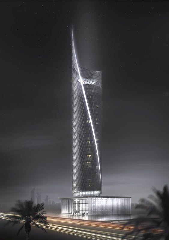 TIME RESIDENCES: Dubai, Emiratos Árabes Unidos (Glenn Howells Architects)  Torre de 30 pisos de uso residencial que gira 360 º sobre sí misma (5 mm por segundo). Esta capacidad convierte el bloque en un reloj para quienes lo ven desde el exterior. La torre, que pretende ser la primera de una serie de 23 edificios giratorios promovidos por High Rise Real State en todo el mundo.En 2009 se concluirán las obras. #arquitectura #tower