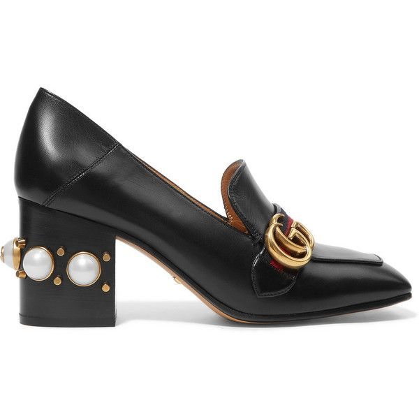Gucci Embellished leather pumps (3,685 SAR) ❤ liked on Polyvore featuring shoes, pumps, gucci, heels, black, high heel pumps, high heel loafers, slip-on loafers, gucci shoes and gucci loafers