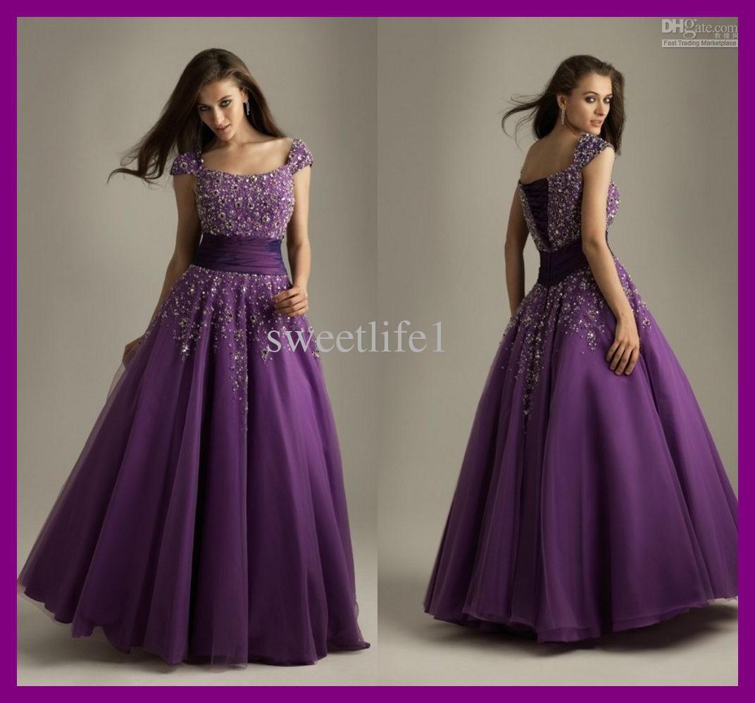 Wholesale Sexy Purple Modest Prom Dresses 2011 Organza Short ...