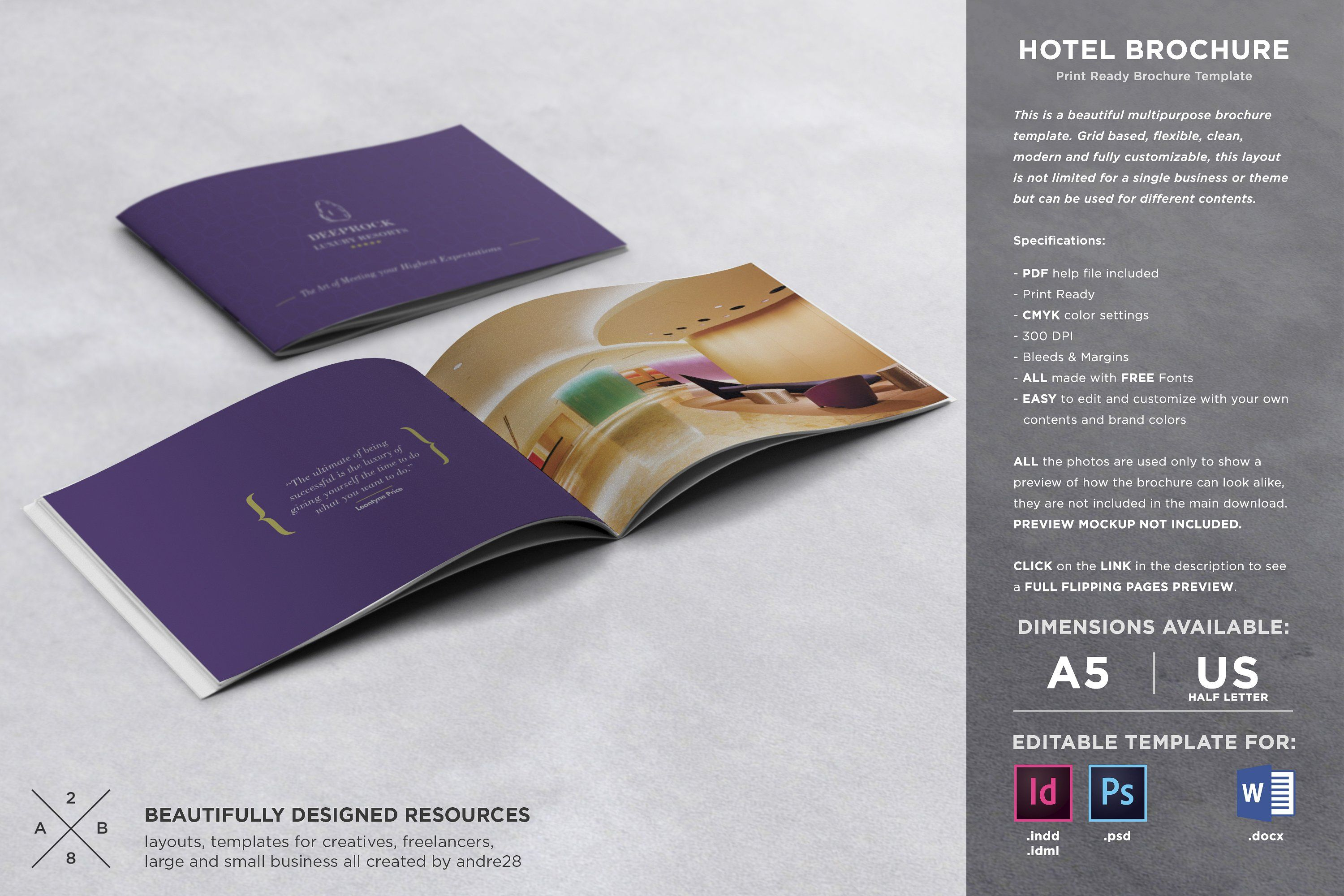 Hotel Brochure Template By Andre28 On @creativemarket