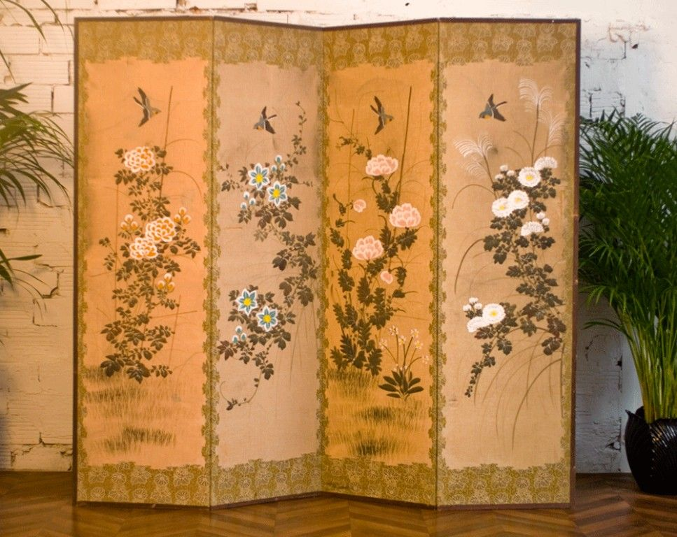 Paravent japonais beige xviii xix si cle art craft for Meuble antique japonais