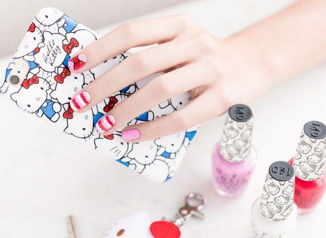 Le tuto nail art facile Hello Kitty x OPI