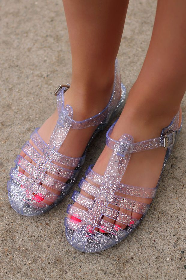 84e7486a283b Be Jelly Flats - Clear Glitter Women s Jelly Sandals