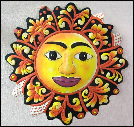 Sun Design Metal Tropical Outdoor Garden Art - Painted Haitian ...