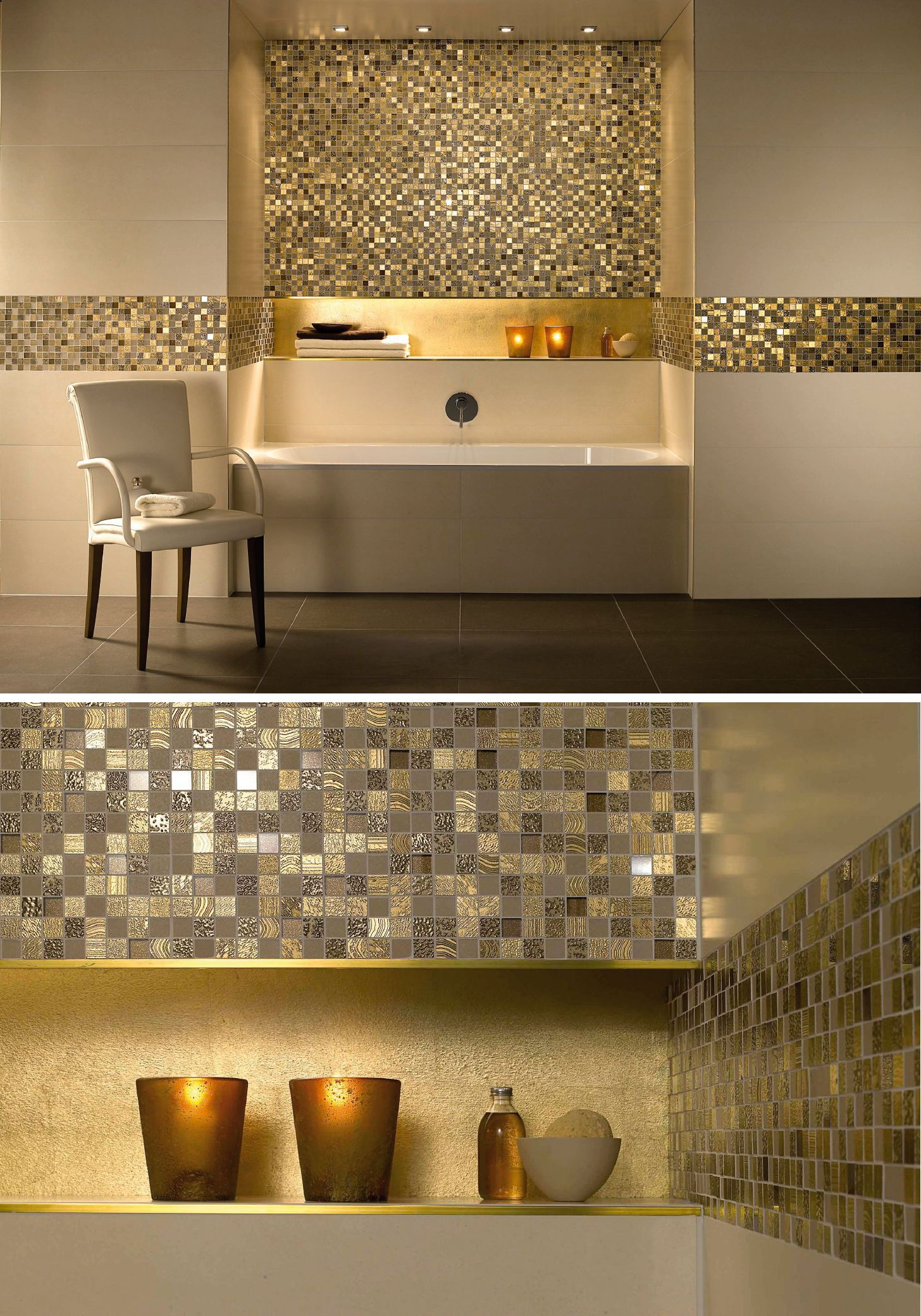 Glamorous Gold Tiles Tile Tub Surround Bathroom Interior