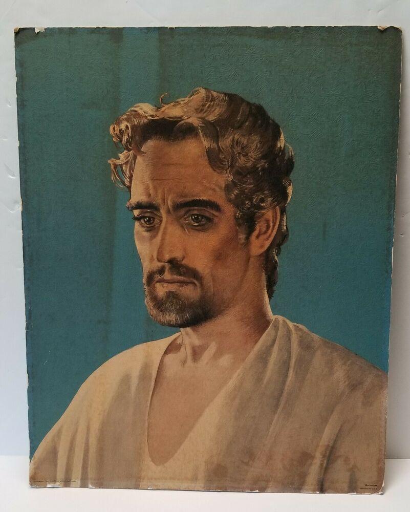 Vintage 1955 Jesus Christ Short Hair Portrait Art Print 16