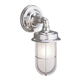 """One-light outdoor wall lantern in chrome. Crafted of brass with a shiny opal glass shade.Product: Wall lanternConstruction Material: Metal and glassColor: ChromeFeatures: Made in the USAAccommodates: (1) 75 Watt incandescent Edison base bulb - not includedDimensions: 11.75"""" H x 5"""" W"""