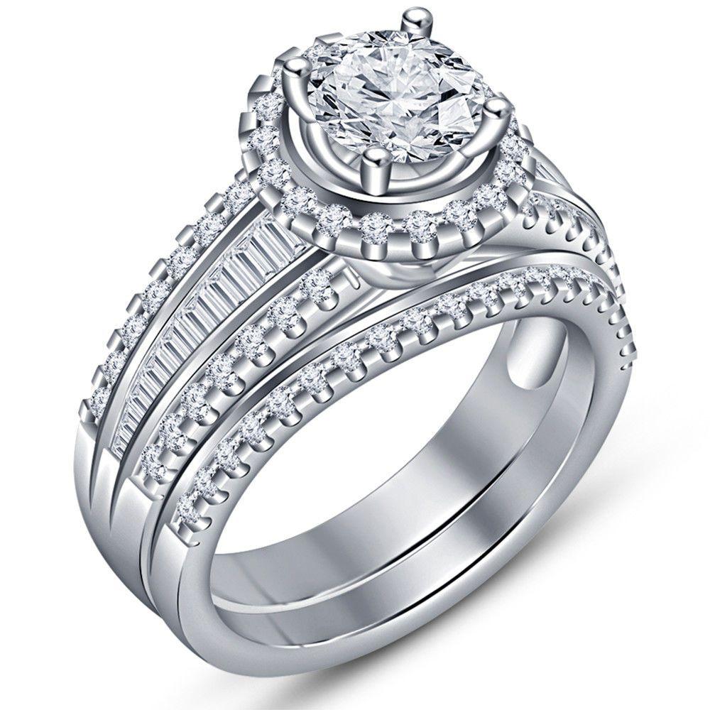 1 50 Ct Diamond Bridal Set Ladies 14k White Gold Engagement Ring Wedding Band Wedding Ring Diamond Band Yellow Gold Round Engagement Ring Diamond Bridal Sets
