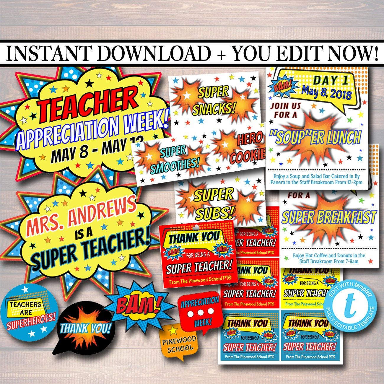 Editable teacher appreciation superhero themed decor