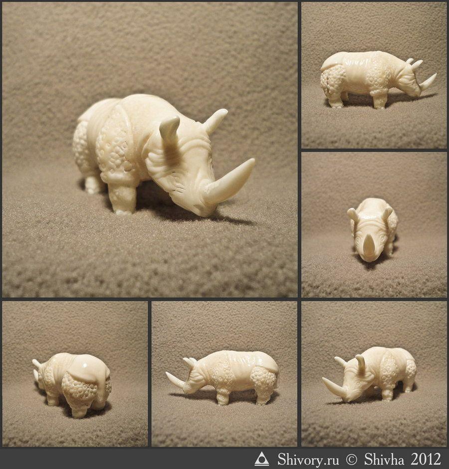 Rhinoceros netsuke by AKuznetsov.deviantart.com on @deviantART
