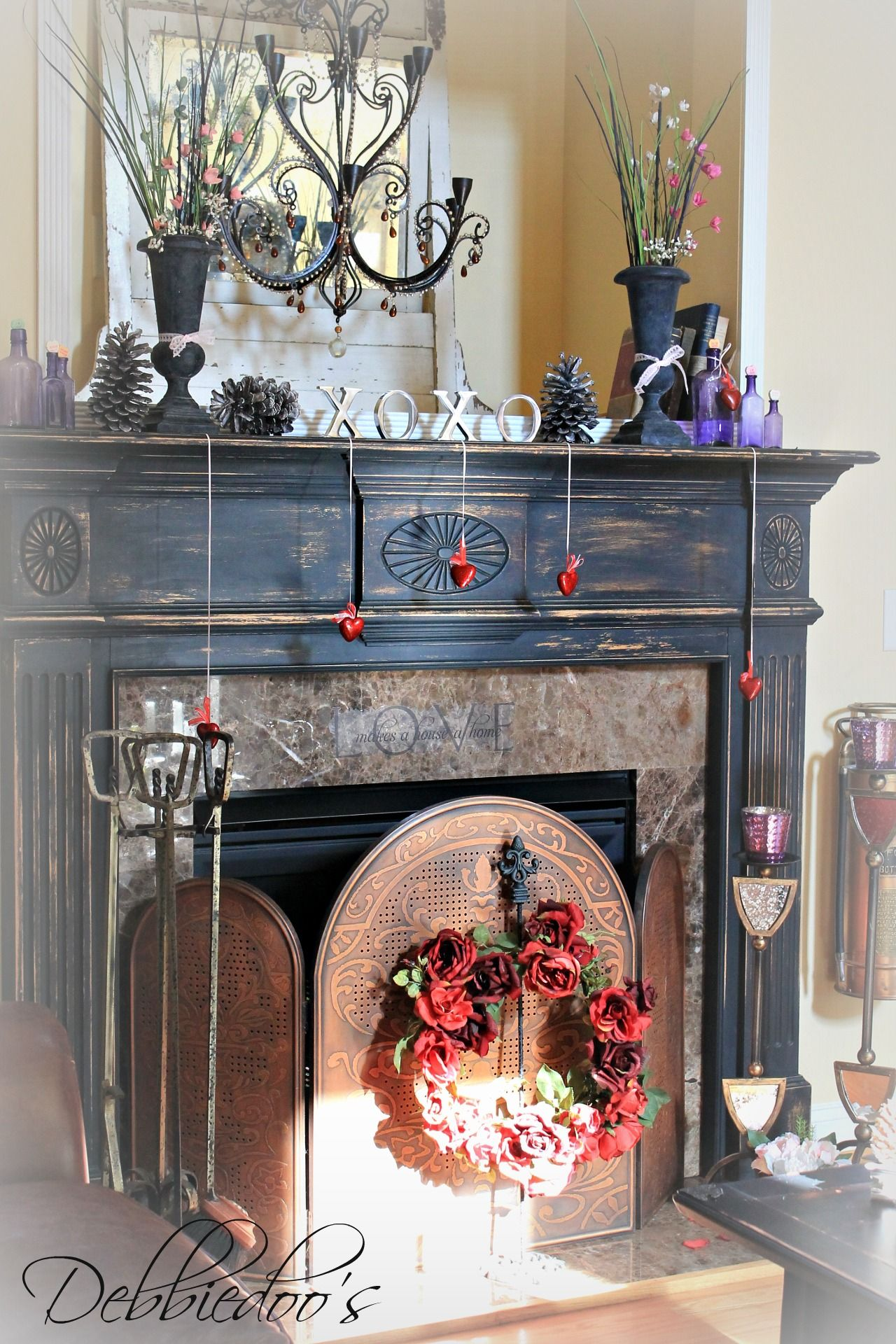 Valentine mantel decorating and newly painted hearthShabby chic