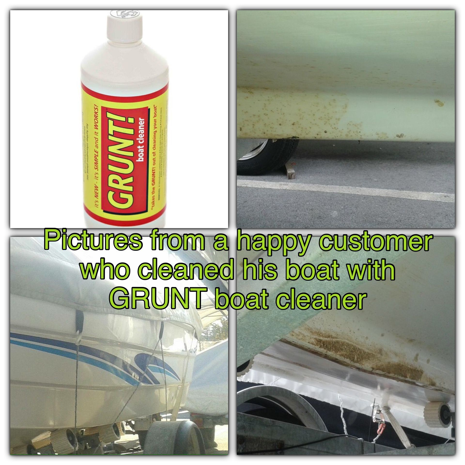 Pictures We Received From A Happy Customer Who Cleaned His Boat With Grunt Boat Cleaner Amazing Results Without Effort Al Boat Cleaning Stain Remover Repair