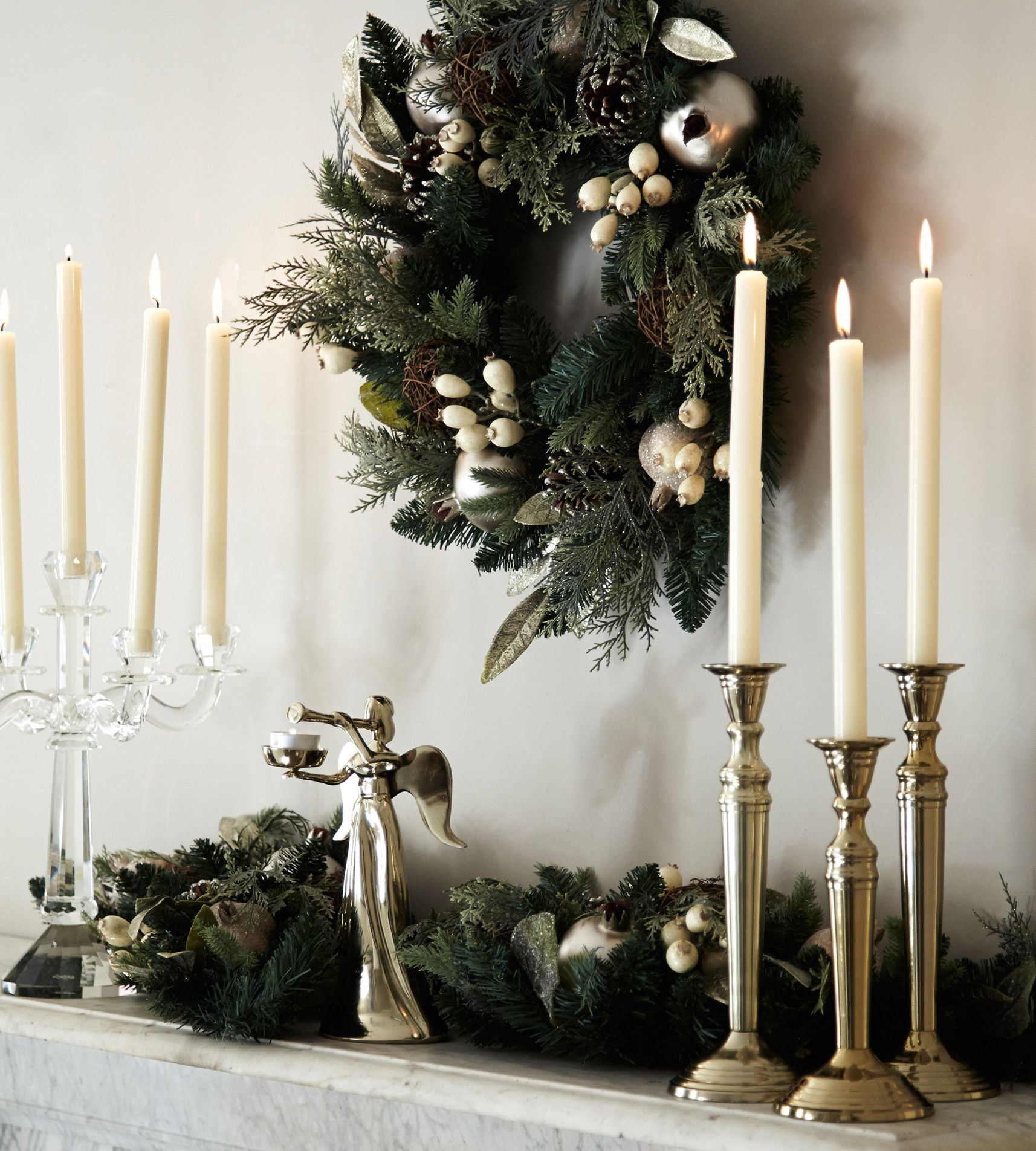 Dunnes Store Christmas Decorations: Candles, Candleholders And Wreath By Paul Costelloe Living