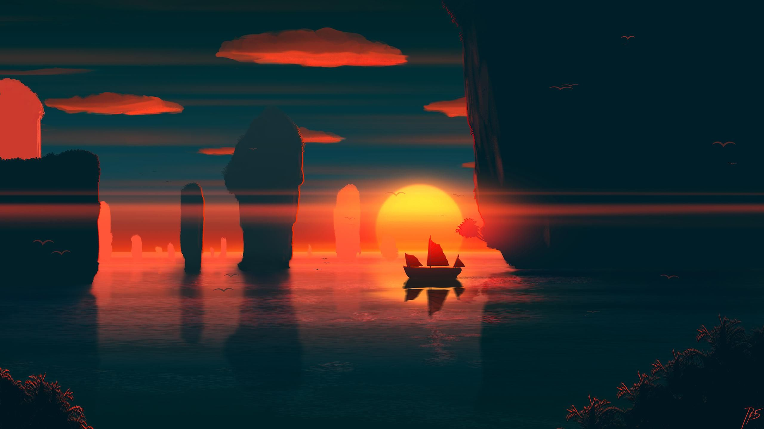 Calm Outrun Sunset 2560 X 1440 Desenhos Legais Paisagens Desenhos