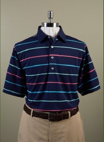 Donald Ross golf collection short sleeve polo shirt Navy Blue Multi Stripe M New