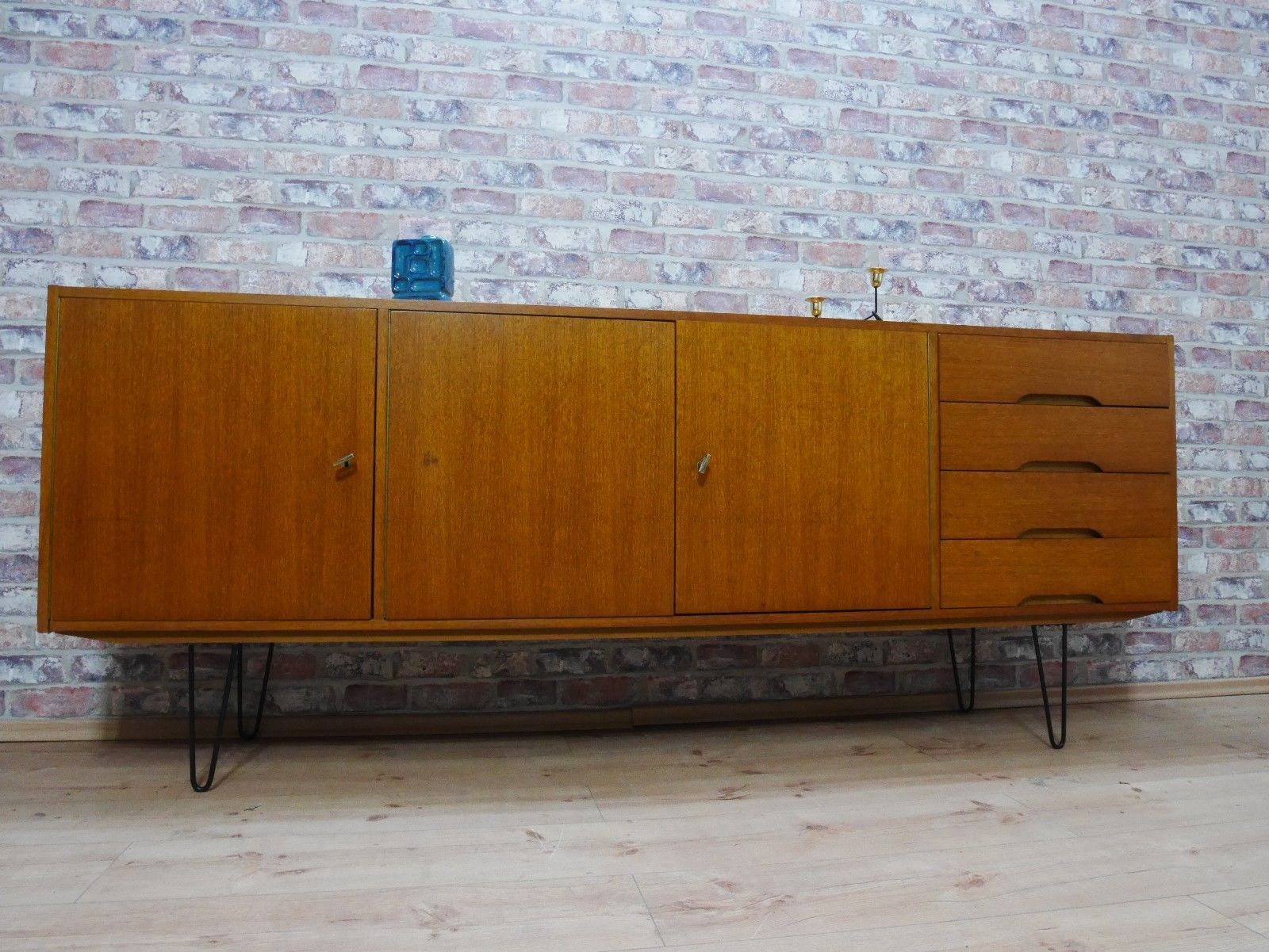 Teak Sideboard Kommode Schrank 50er 60er Jahre Mit Hairpin Legs Danish Design FOR SALE O