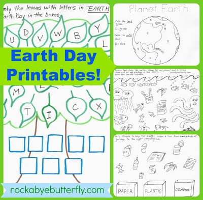 Rockabye Butterfly Earth Day Printables 10 page Package