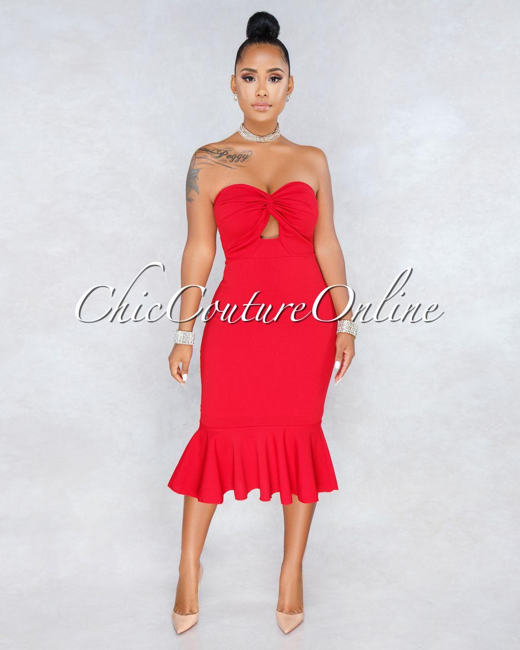 77a79525264a95 Chic Couture Online - Tarik Red Strapless Flutter Bottom Midi Dress