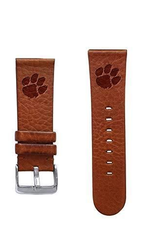 Clemson Tigers 20mm Leather Watch Band The top grain oil