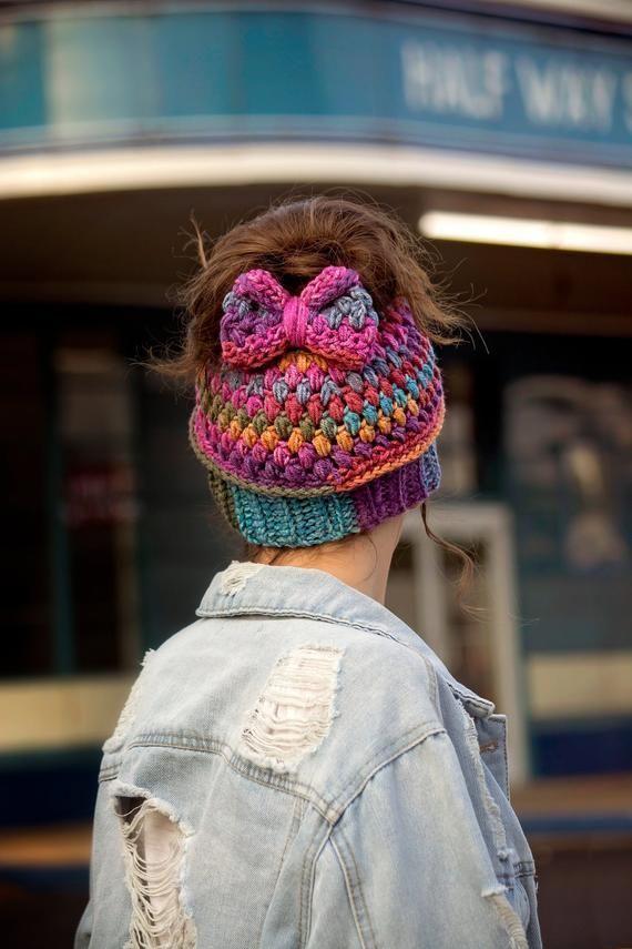 Spirit Hat - Messy Bun Beanie Crochet Pattern - 2 Crochet Options Regular Closed Hat Or Messy Bun Hat - Messy Bun Hat Crochet Pattern #kidsmessyhats Spirit Hat  Messy Bun Beanie Crochet Pattern  2 Crochet image 8 #messybunhat
