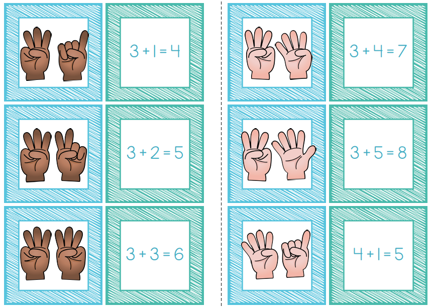 Addition Memory Match Game + Cut and paste worksheets | Simple ...