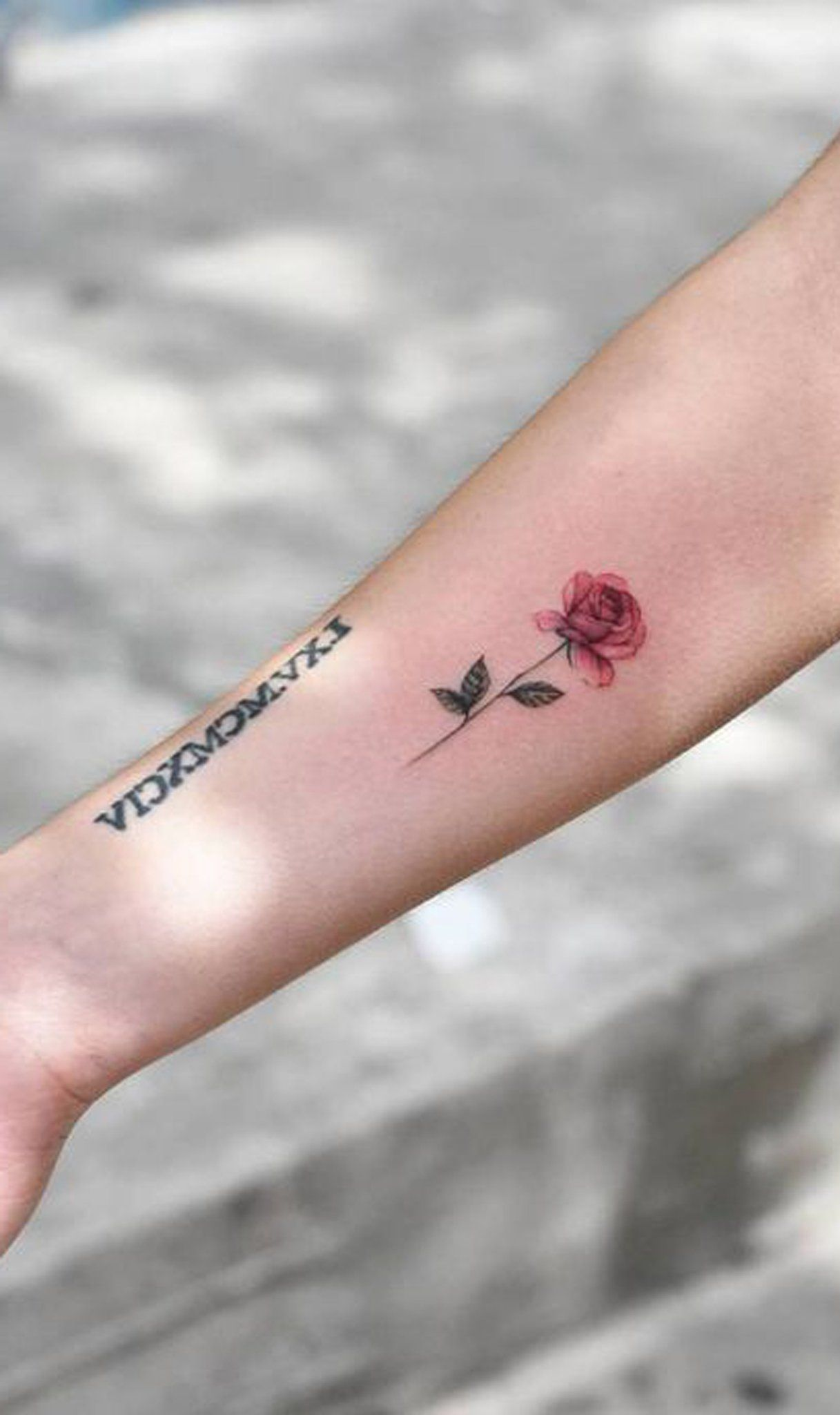 Black Floral Flower Outer Forearm Tattoo Ideas for Women