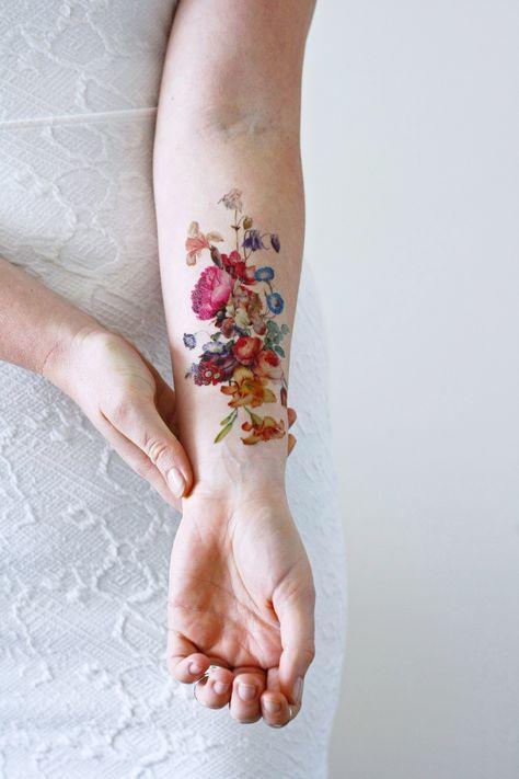 Beautiful Large Vintage Floral Temporary Tattoo Tatuajes Tattoos