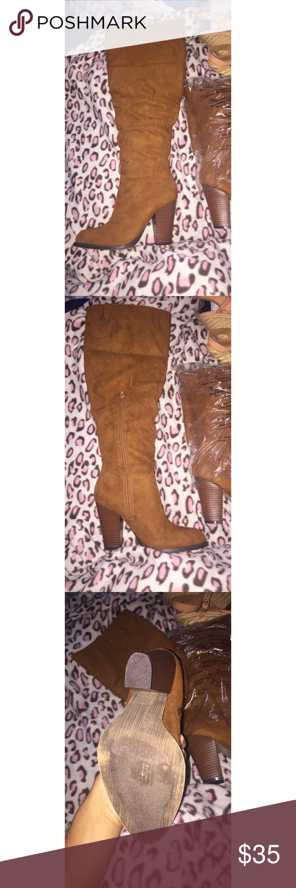 High Heeled Boots Brown High Heeled/Over the Knee Boots JustFab Shoes Over the Knee Boots