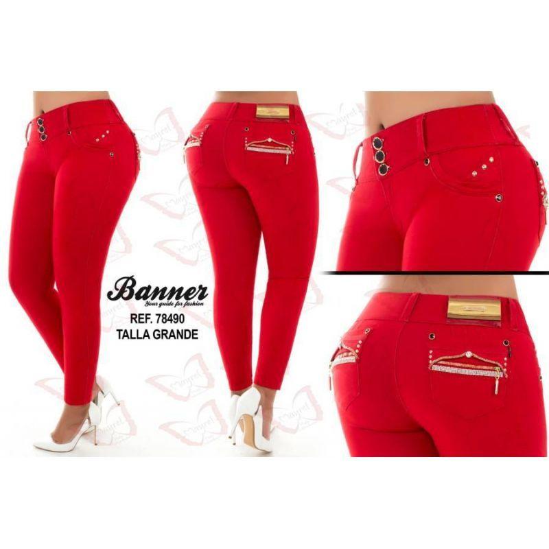 Vaquero Levanta Cola Talla Grande 78490 Color Rojo Talla 16 Jeans De Moda Pantalones De Moda Ropa Nike Mujer