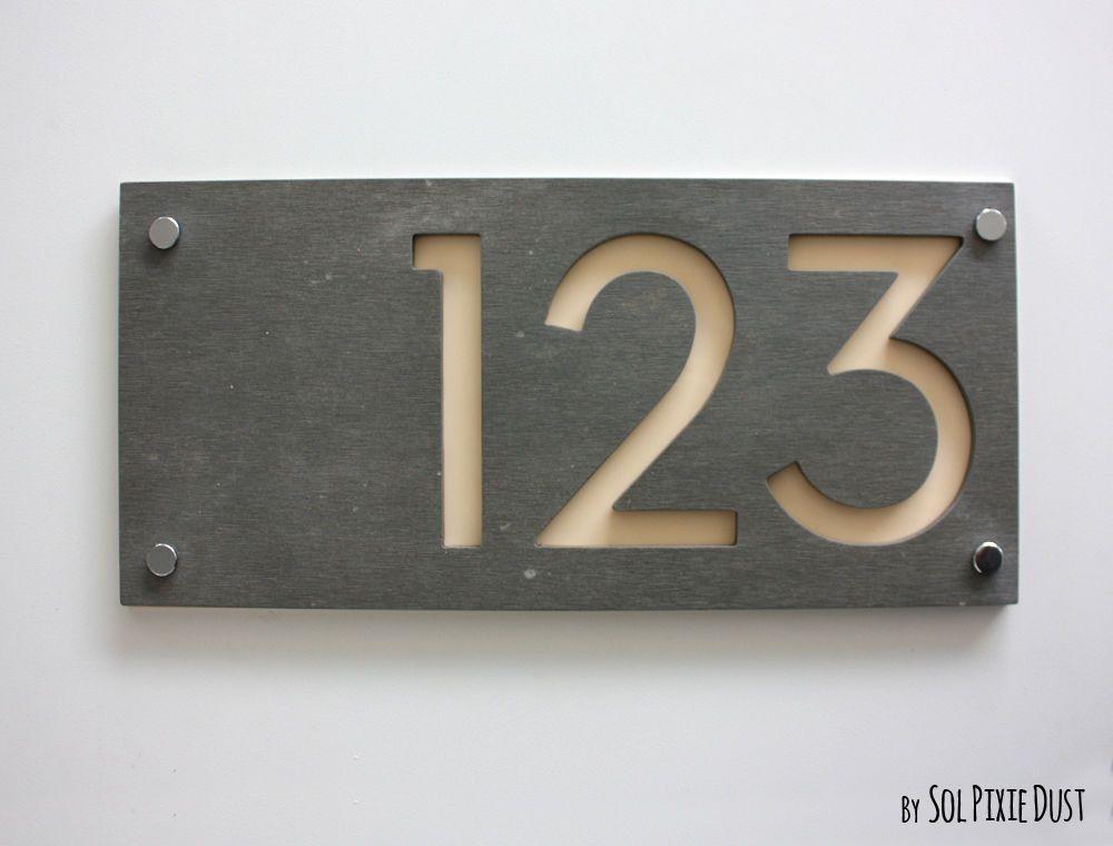 Modern House Numbers Concrete Beige Acrylic Sign Plaque Door Number | eBay