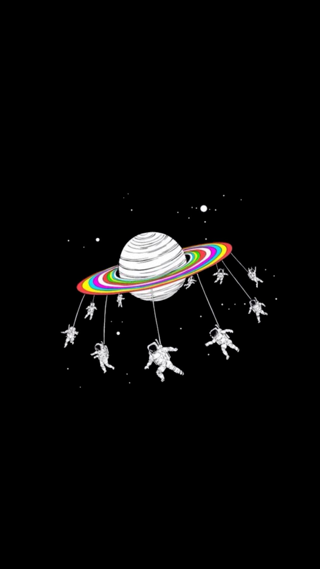 Black White Astronaut Saturn Planets Edgy Trippy Art Love