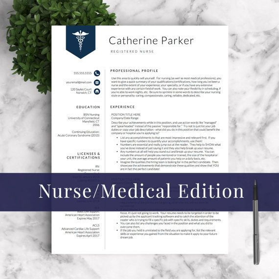 Nurse Resume Template for Word \ Pages (1, 2 and 3 Page Resumes - nursing cv template