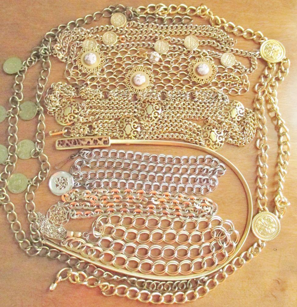 Vintage Metal Chain Belt 9 PC Lot Unique Assortment Gold Plated Spain Faux Coins | eBay