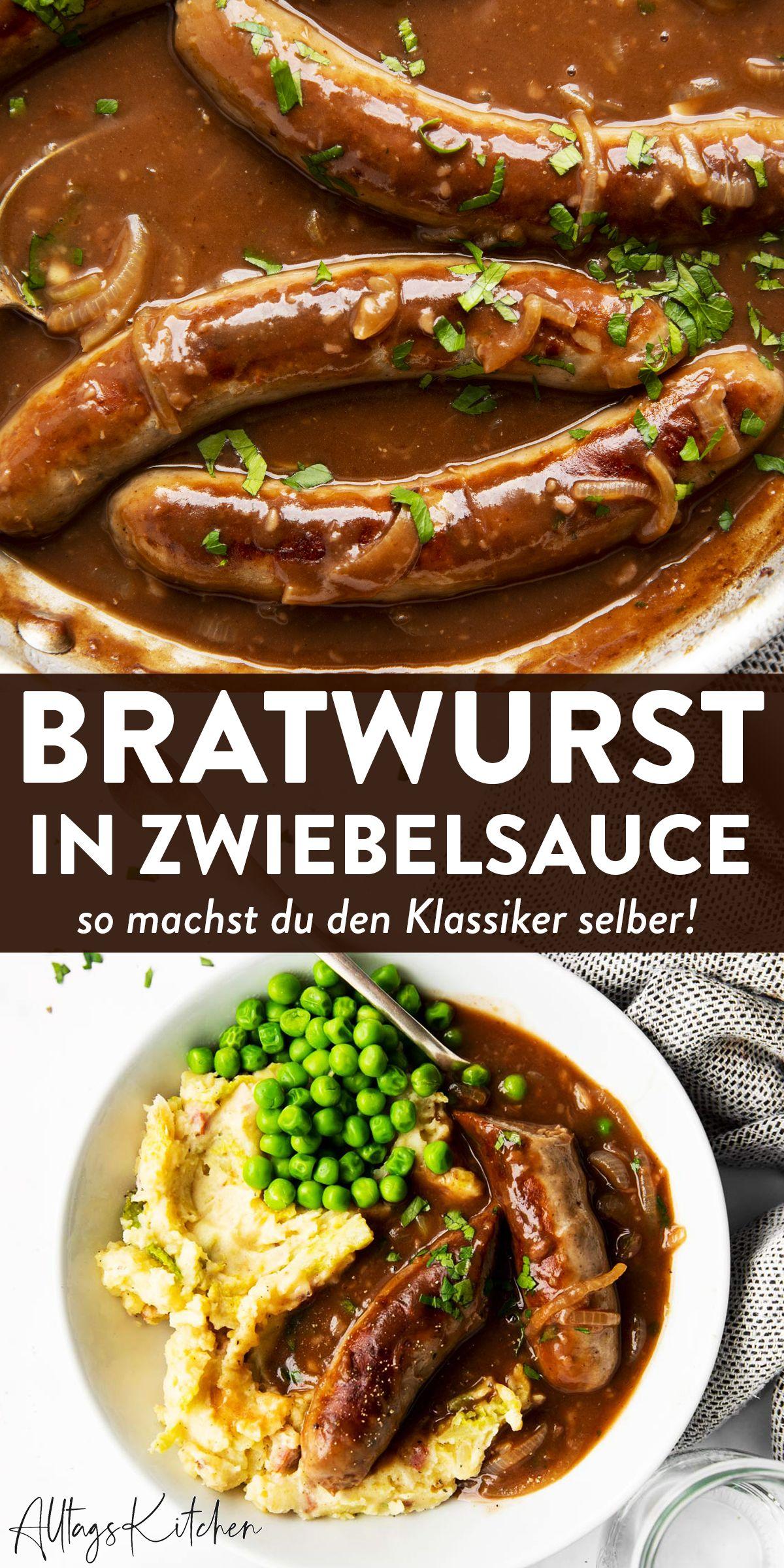 44+Bratwurst mit Zwiebelsauce Bangers and Mash einfach Selbst Gemacht