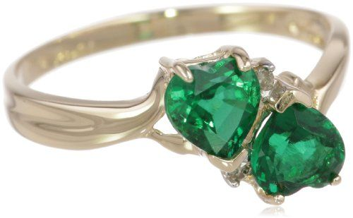 10k Yellow Gold Created Emerald and Diamond Heart Ring (0.02 cttw, I-J Color, I1 Clarity) -