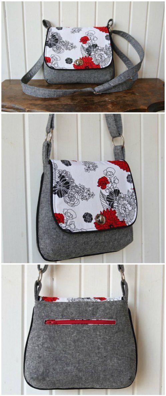 Lilac mini messenger bag - free pattern | Pinterest | Nähen