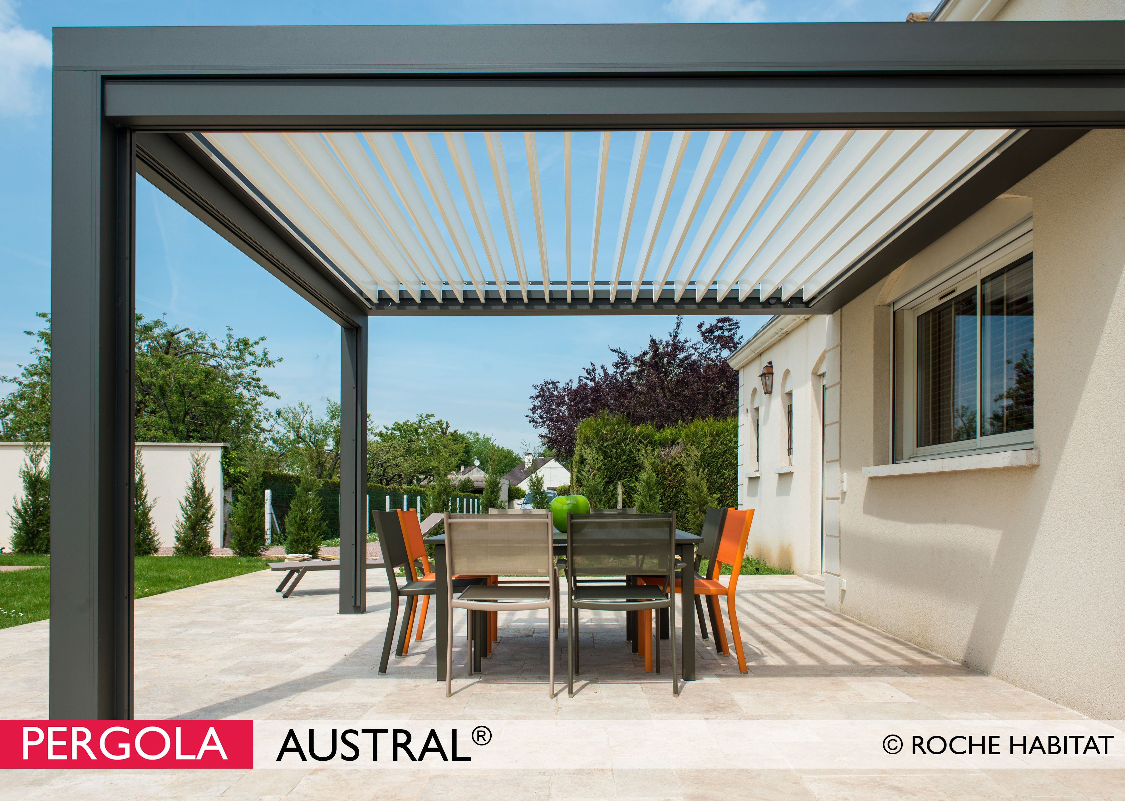 pergola austral by roche habitat un projet de pergola alu. Black Bedroom Furniture Sets. Home Design Ideas