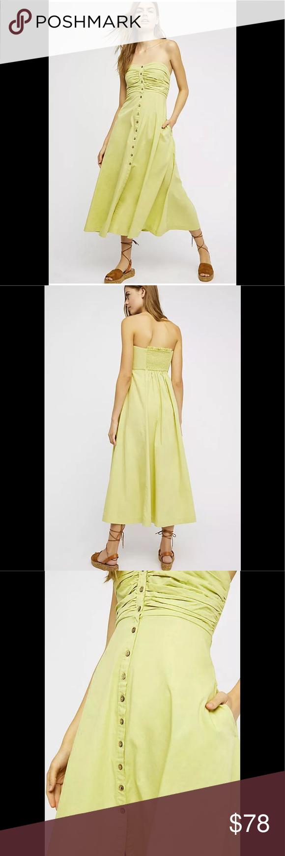 84def768cb7 Free People The Isha Tube Midi Dress S NEW Lime Firm🌻Free People The Isha