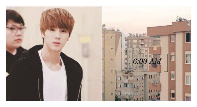 """564; 6:00 AM - Kim Seokjin"" by korean-otaku ❤ liked on Polyvore"