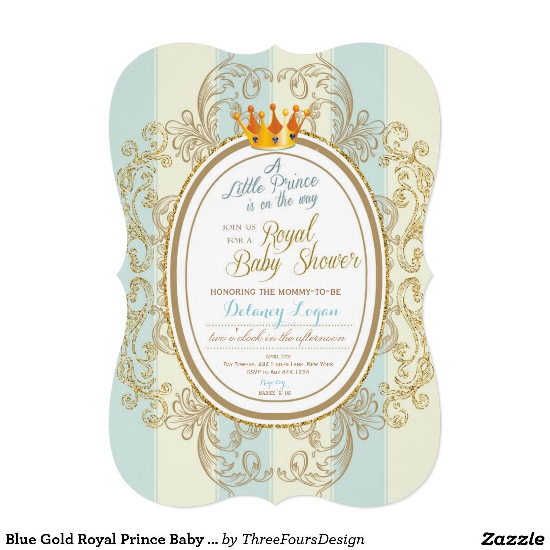 Blue Gold Royal Prince Baby Shower Invitations | Royal prince ...