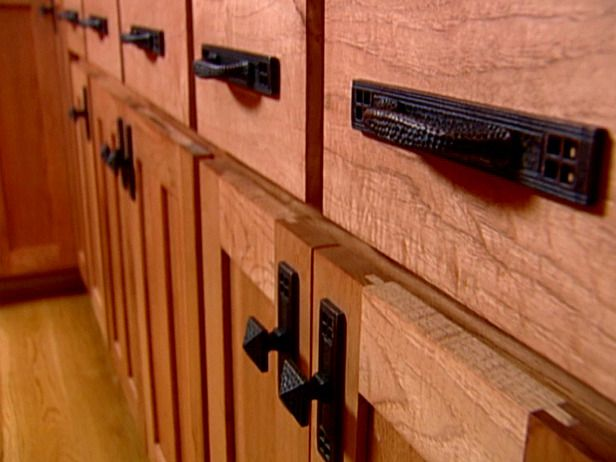 Kitchen Cabinets Knobs And Pulls Vent Fans Choosing Cabinet Handles Architectural Chunky Black Add To The Rustic Look Of These Hand Hewn From Diynetwork Com