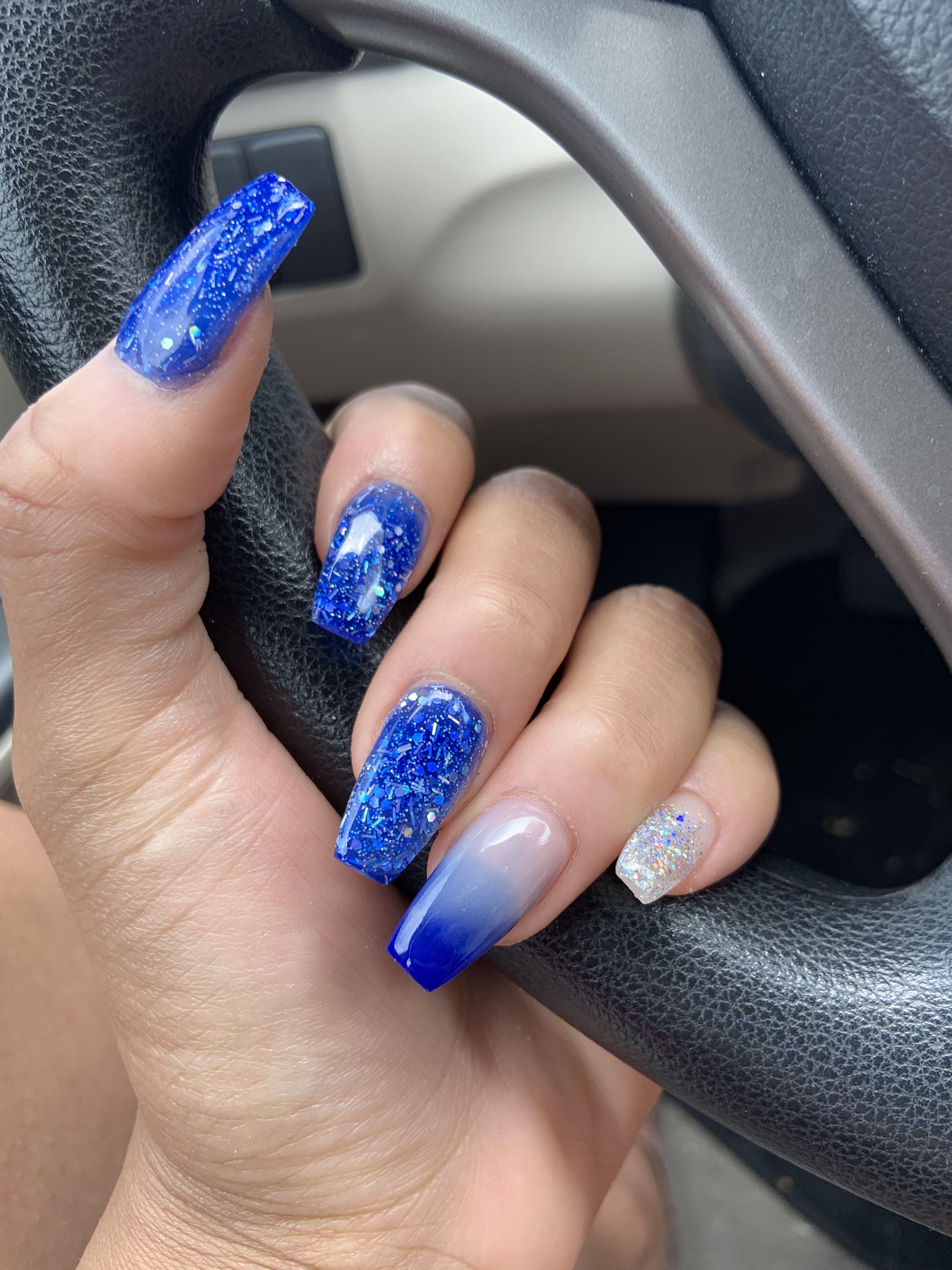 Powder Ombre Royal Blue Sparkle Lbnails Blue And Silver Nails Blue Acrylic Nails Blue Nails