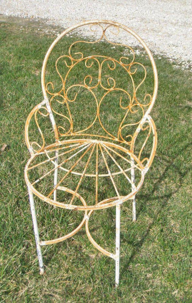 Wrought Iron Adult Ice Cream Flower Chair Welded Metal Garden