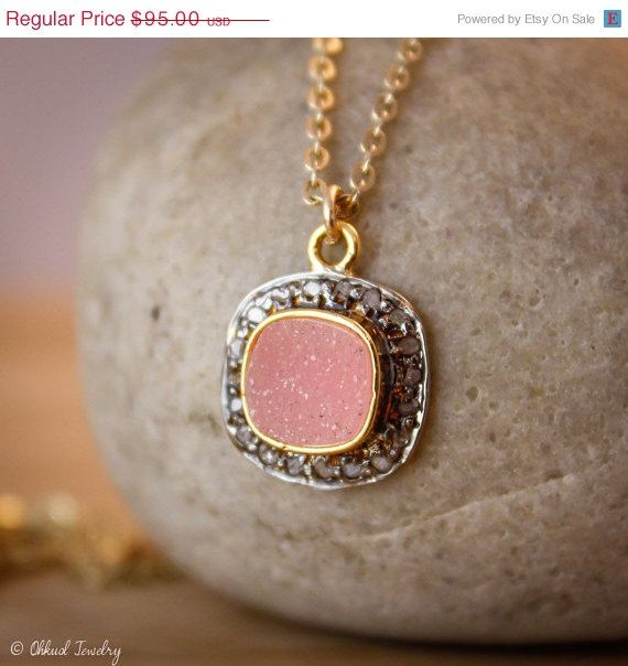50 OFF SALE Pink Drusy Necklace  Druzy Crystal Jewelry  by OhKuol