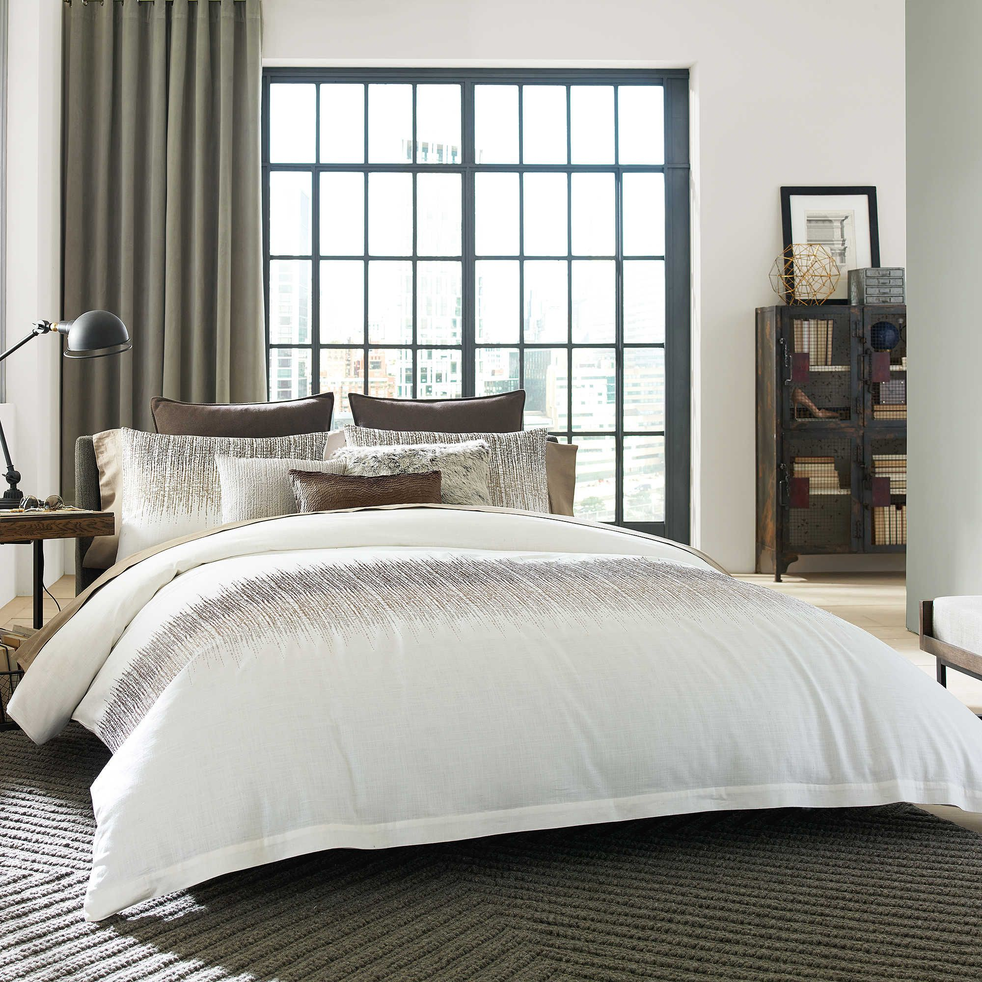 Kenneth Cole Reaction Home Etched Duvet Cover In Ivory Dorm Room