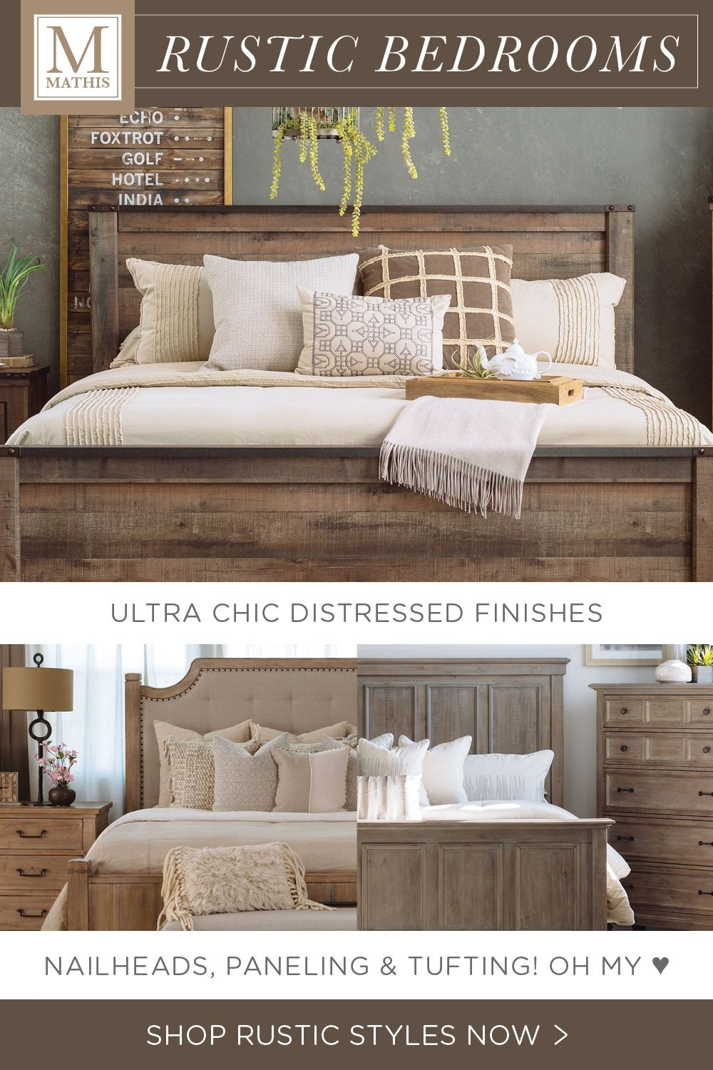Check out these rustic modern platform beds at an