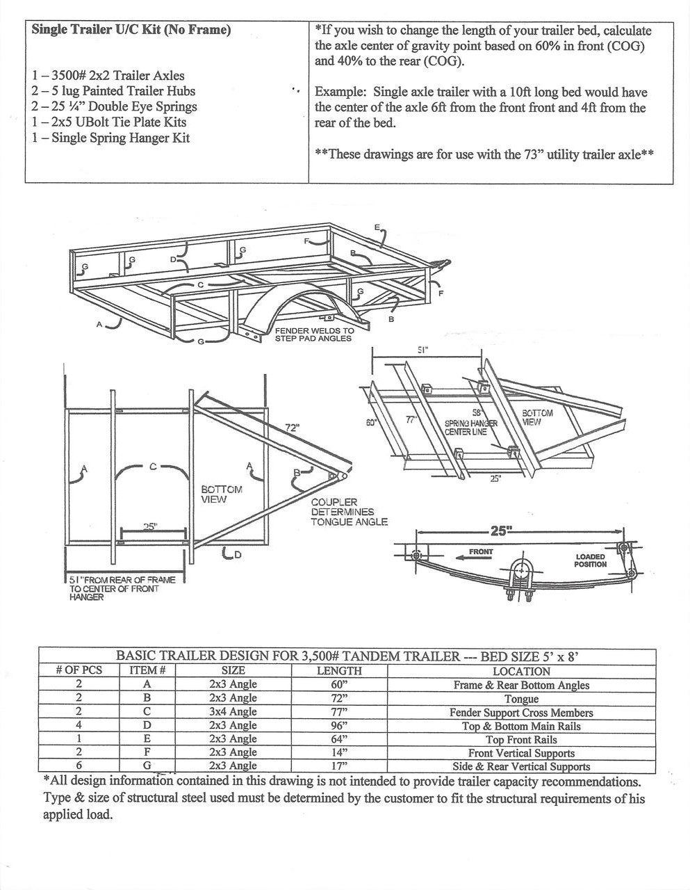 "73"" Single Undercarriage Trailer Kit - Build Your Own Utility Trailer with  Champion Trailers Undercarriage Kit"