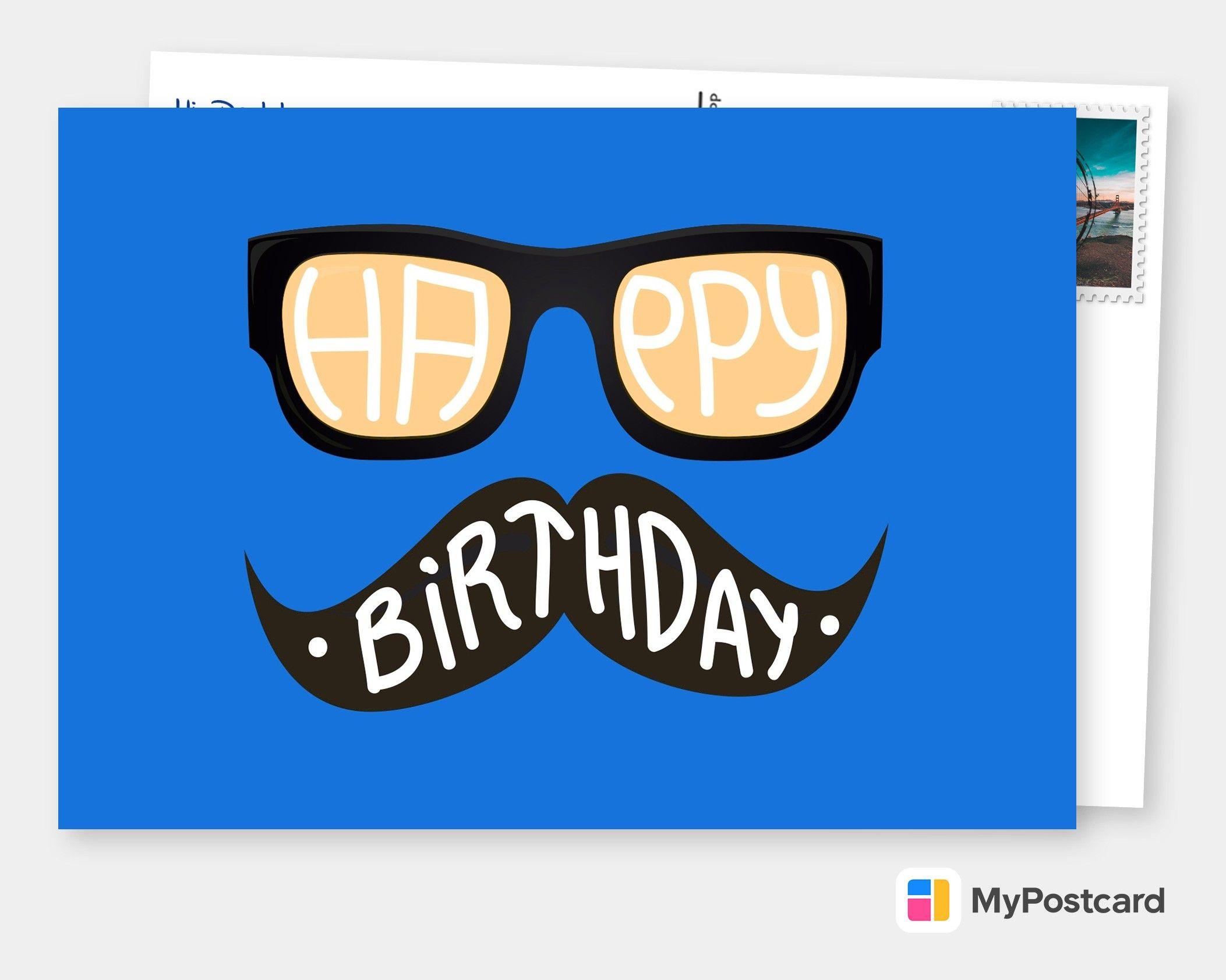 Hipster Birthday Card Blue Happy Birthday Cards Printable Cute Birthday Wishes Happy Birthday Cards