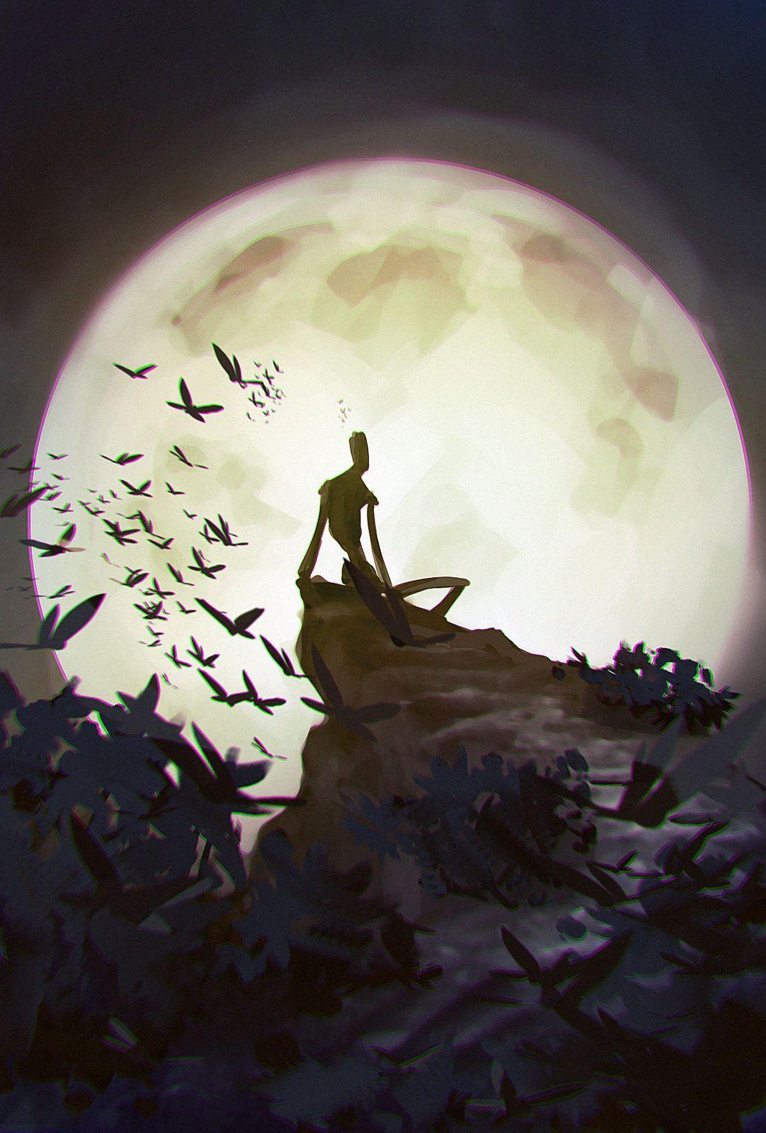 Full moon, Martin Nebelong on ArtStation at https://www.artstation.com/artwork/full-moon-0532b4ea-b930-498c-a1ec-7f0aa12f8269