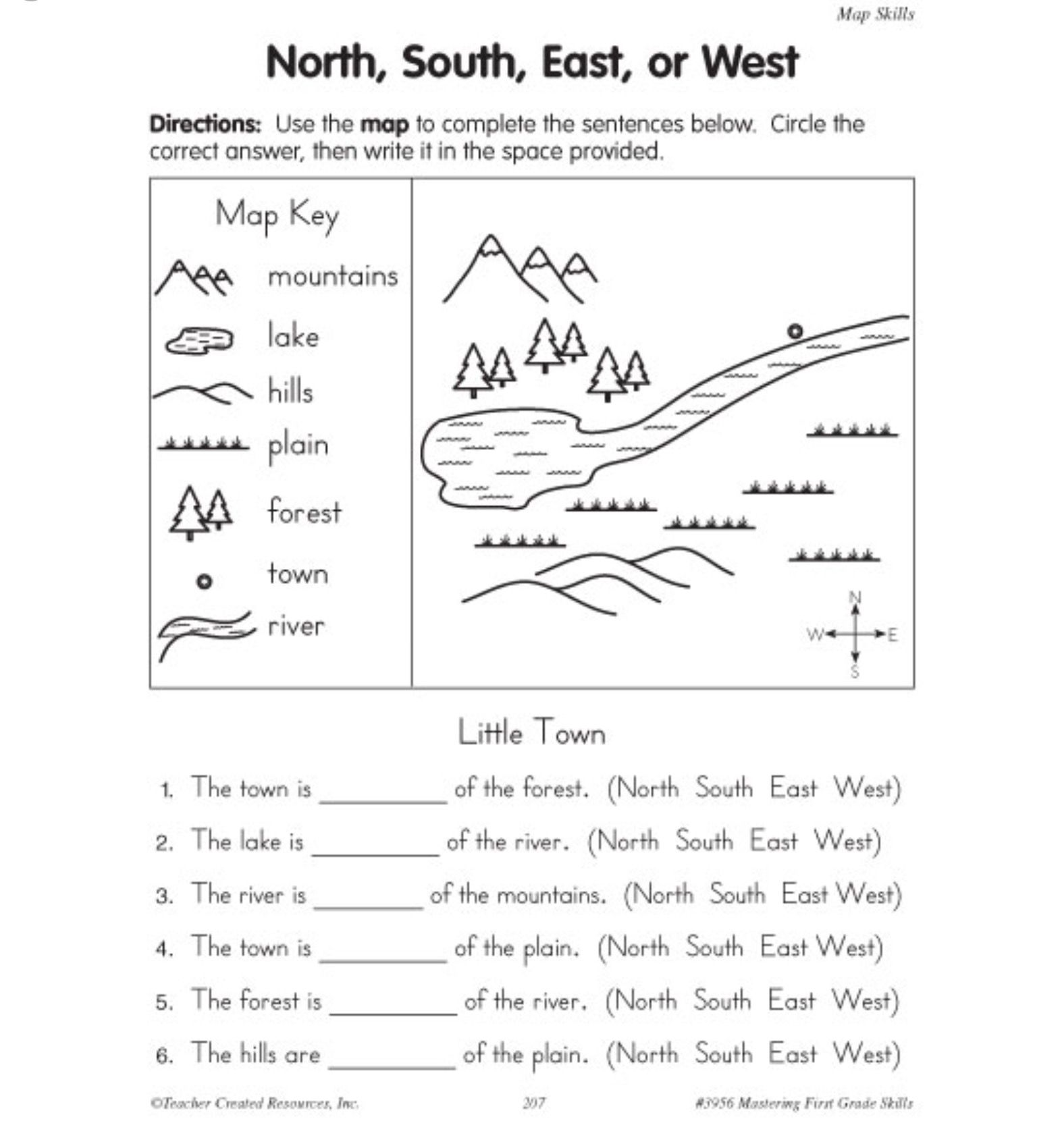Map Key Worksheet For 1st Grade